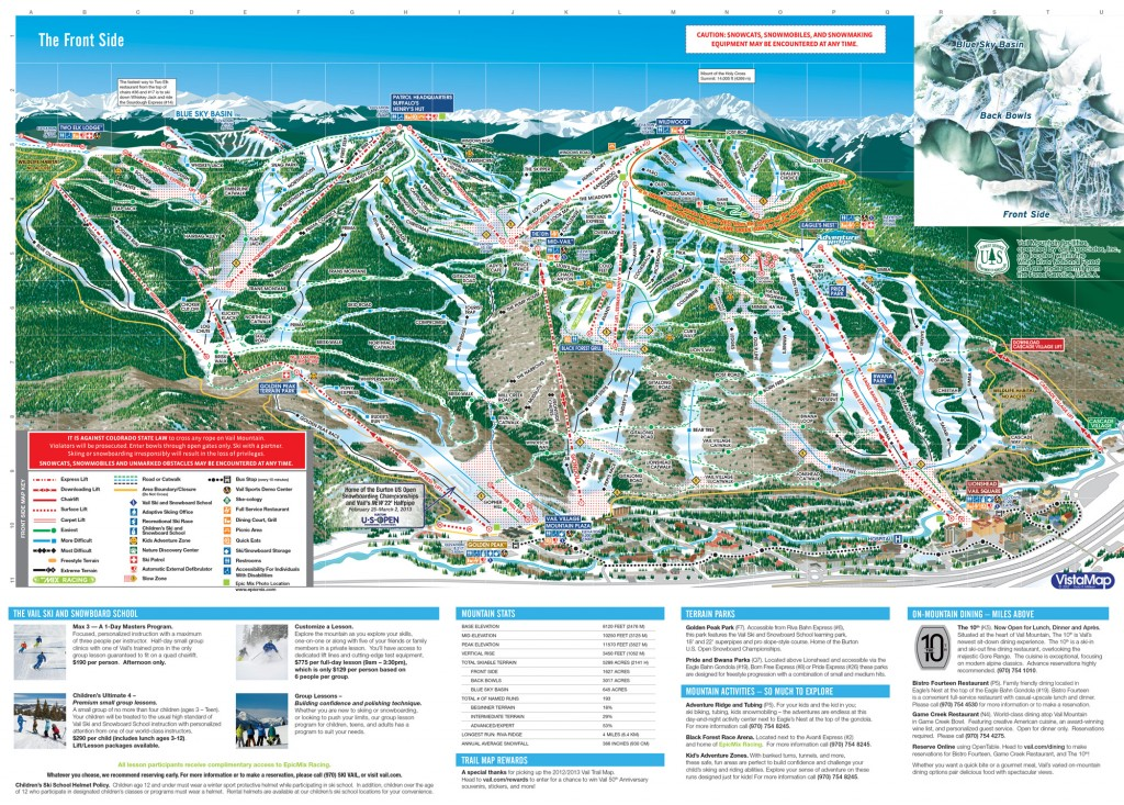 Vail Front-Side trail map