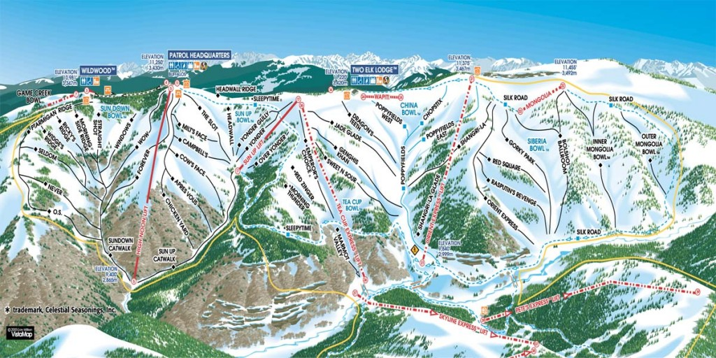 Vail back-bowls trail map