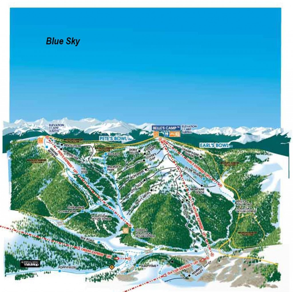 Vail Blue Sky Basin trail map