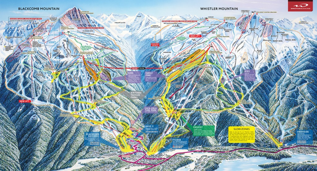Whistler/Blackcomb trailmap 2014/2015
