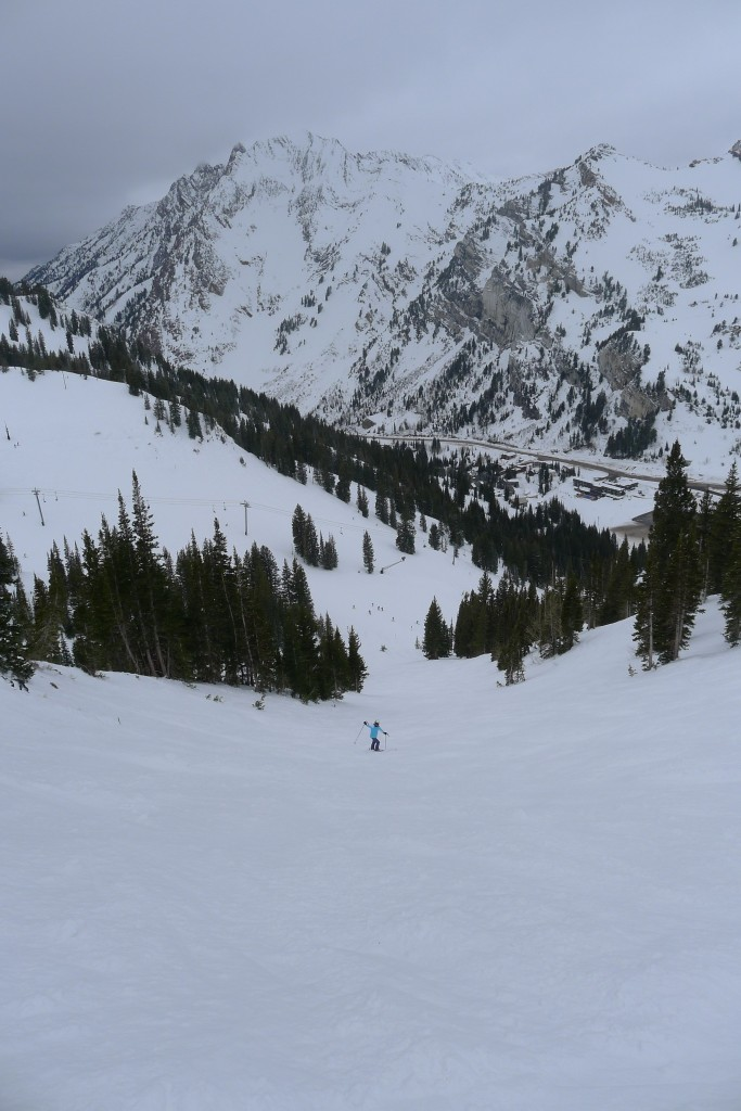 Exploring the chutes to the left of High Rustler at Alta