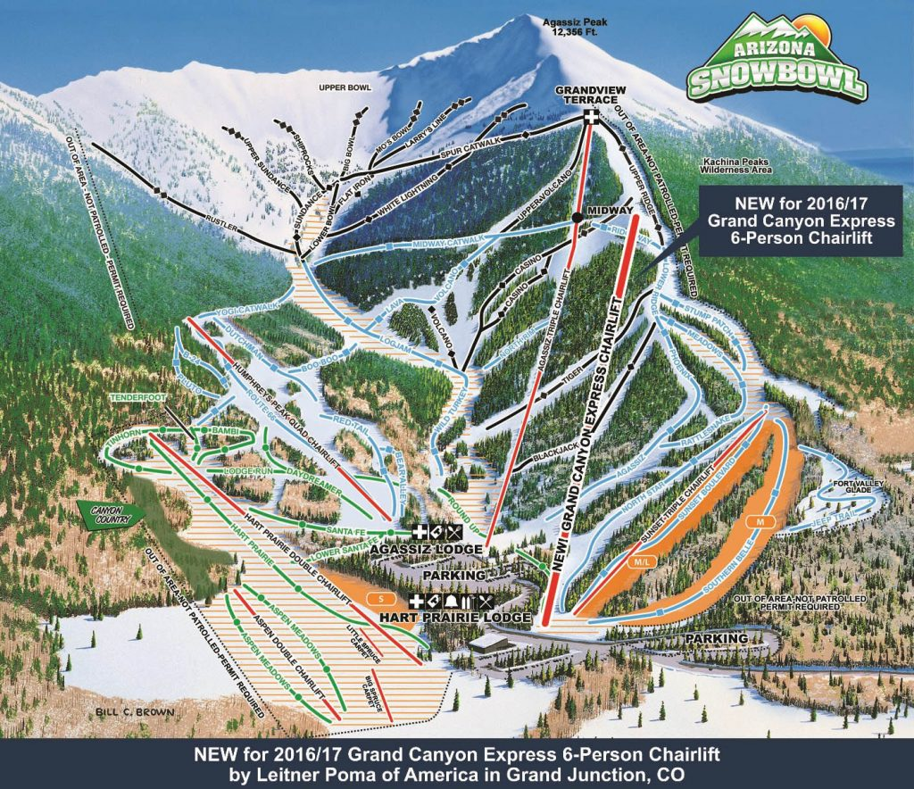 Arizona Snowbowl Trail Map 2016/2017