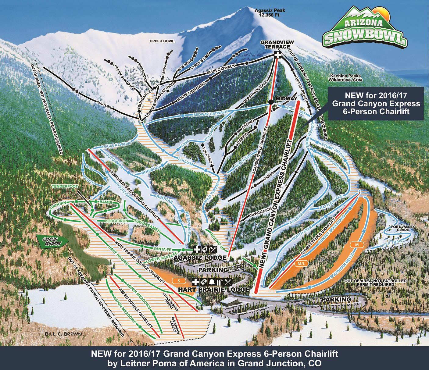 snowbowl Snowbowl Map on flagstaff ski bowl map, lost trail map, whitefish mountain resort map, flagstaff az map, bridger bowl map, the arizona trail map,