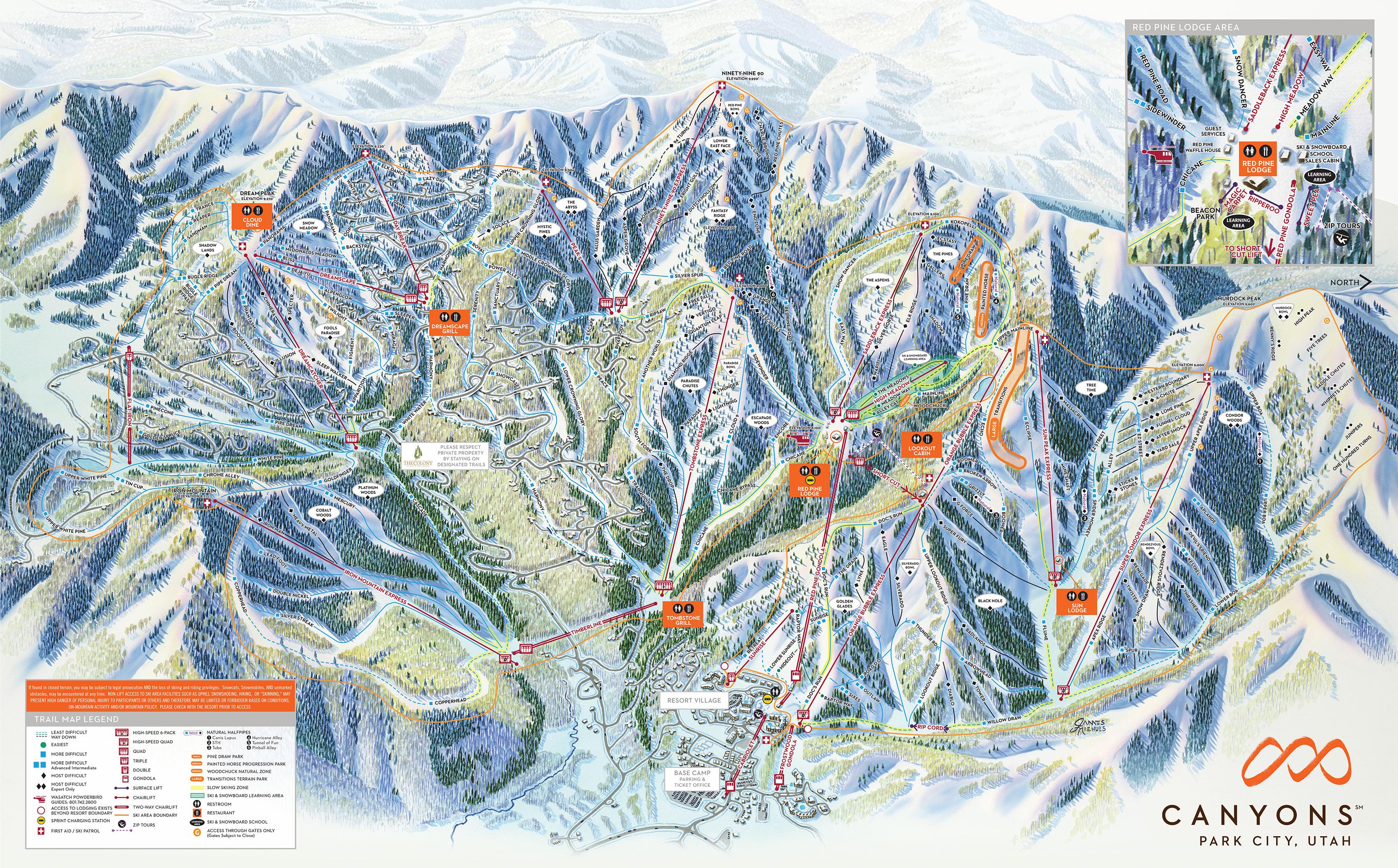 Canyons Resort Map The Canyons, Utah   Ski North America's Top 100 Resorts Canyons Resort Map