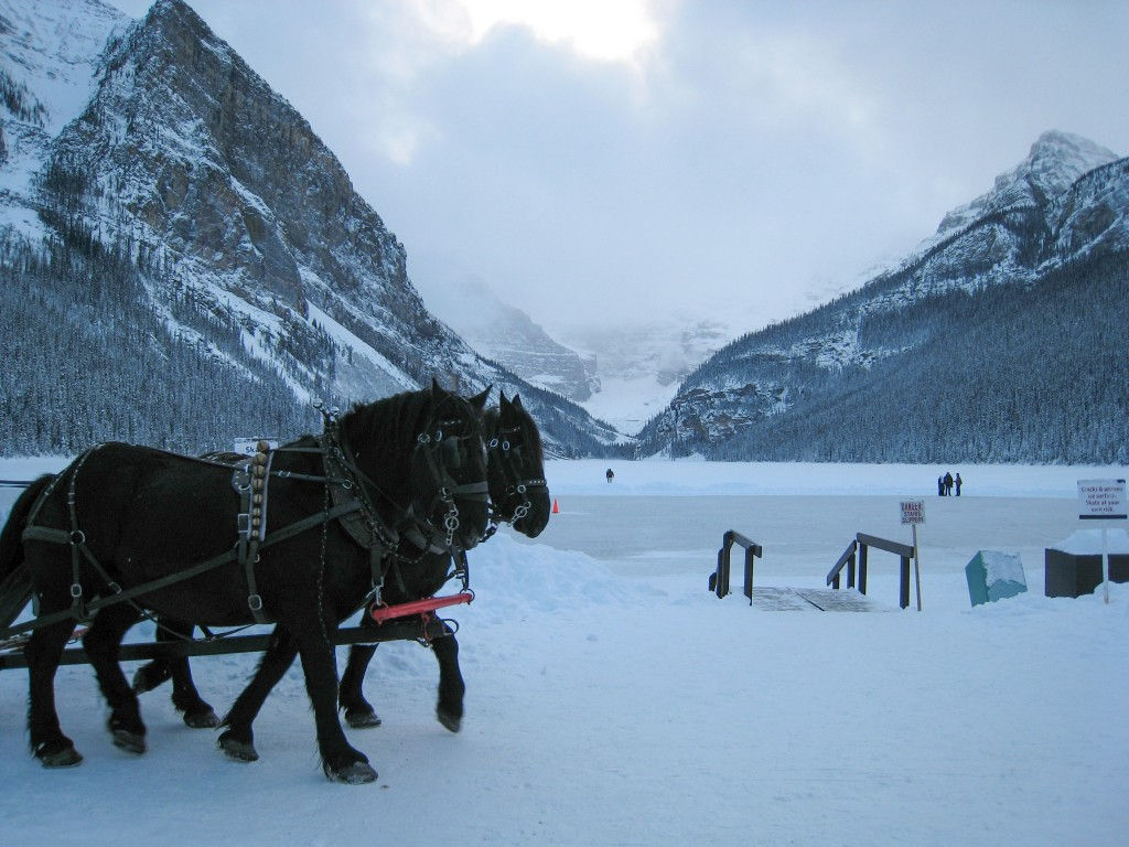 Frozen Lake Louise, across the valley from the resort, December 2007
