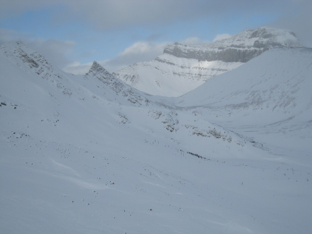 Views up the valley on the backside of Lake Louise - December 2007