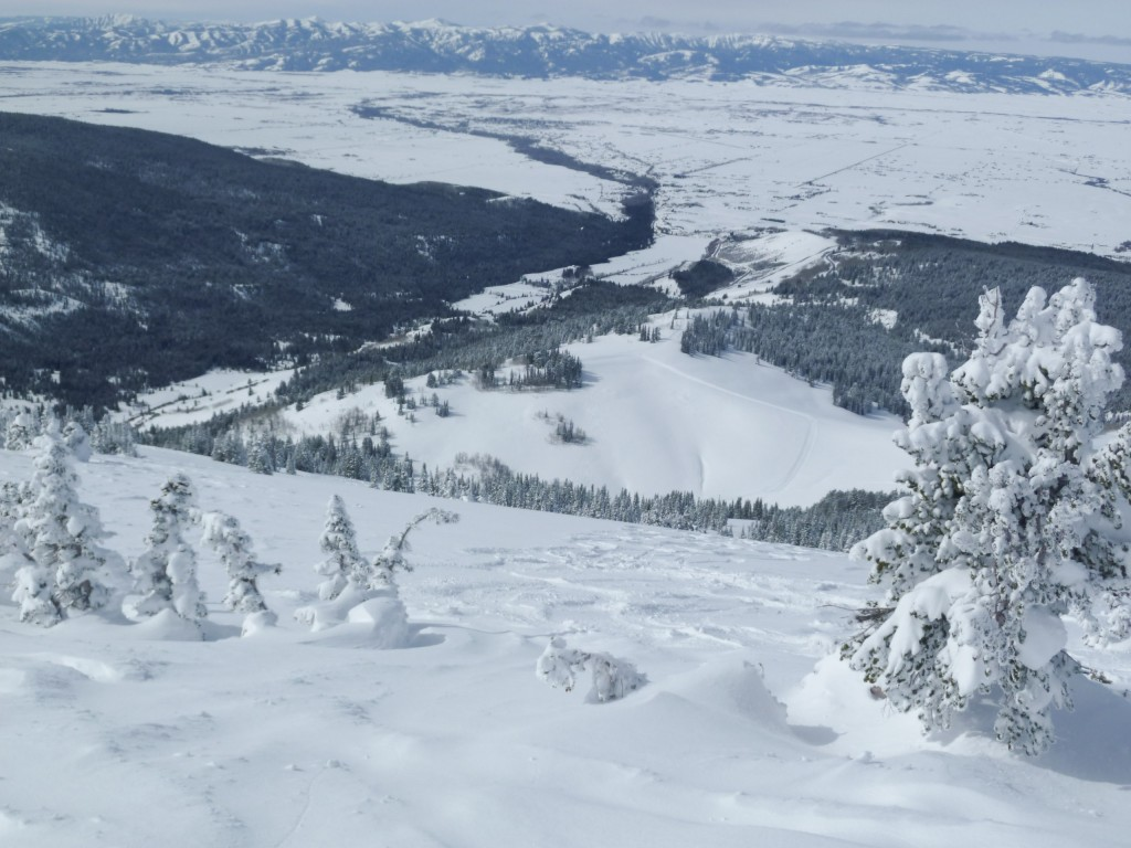 Looking down the snowcat terrain from the top, Grand Targhee, March 2011