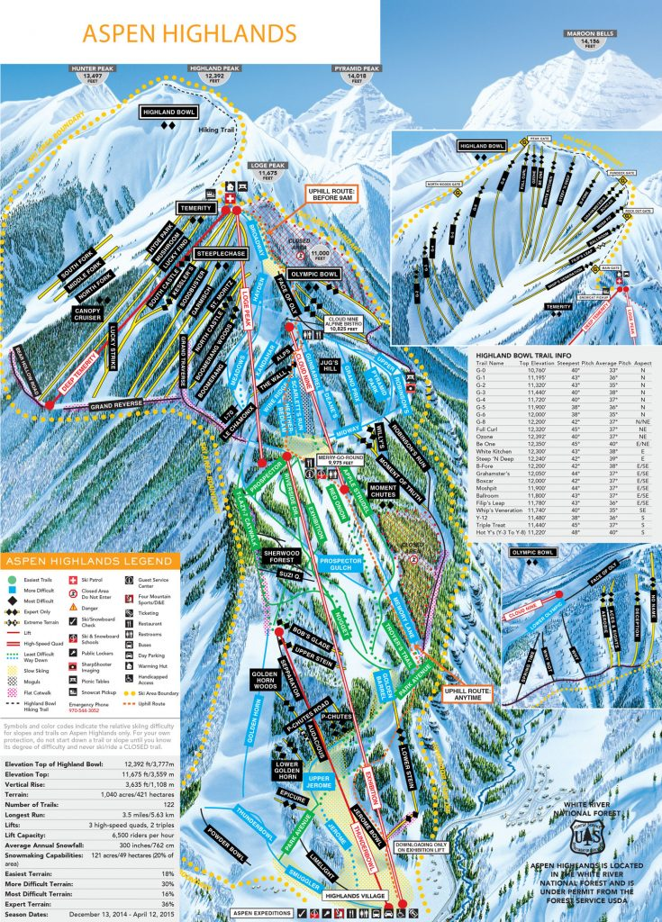 Aspen Highlands Trail Map, 2015-2016