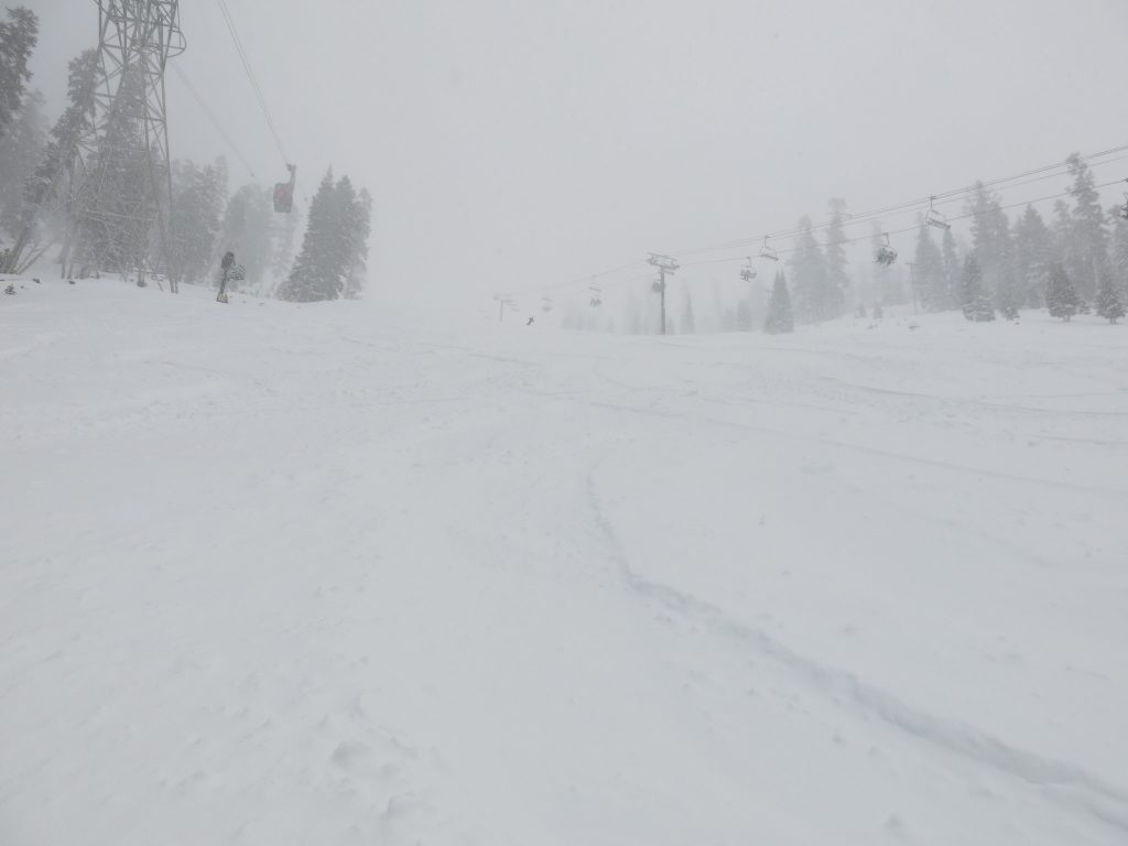 Powder at the bottom of East Bowl at the California side of Heavenly, January 2015