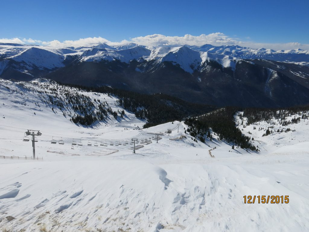 View into Montezuma Bowl at A-Basin, December 2015