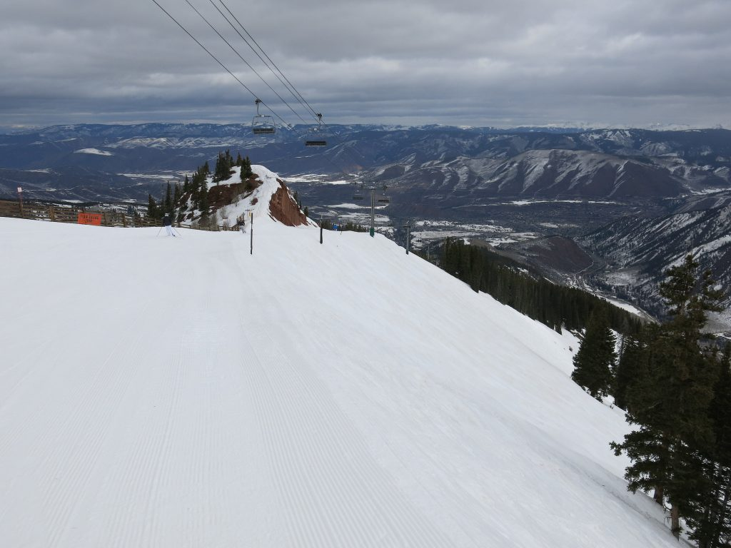 Narrow groomer at the top of Loge at Aspen Highlands, March 2016