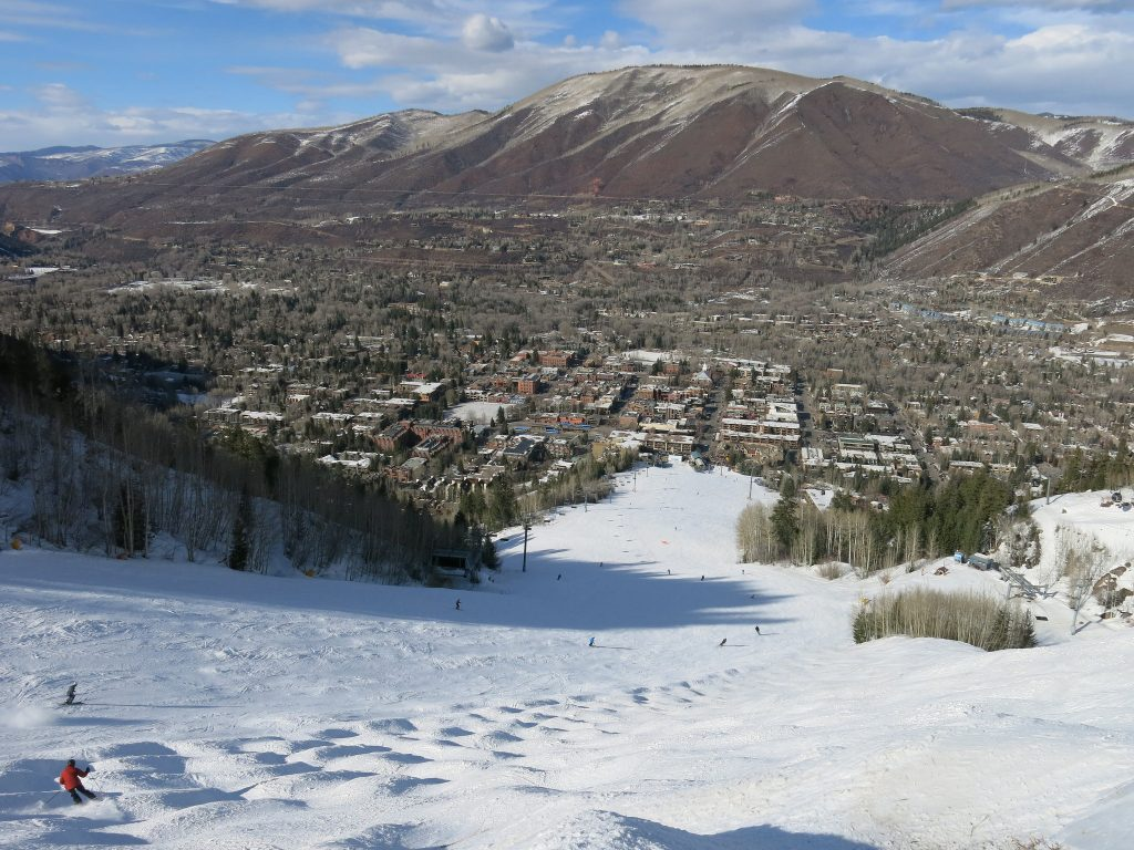 Ski into town at Aspen Mountain, March 2016