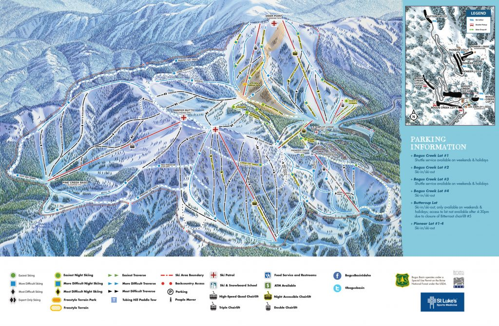 Bogus Basin trail map, 2015-16
