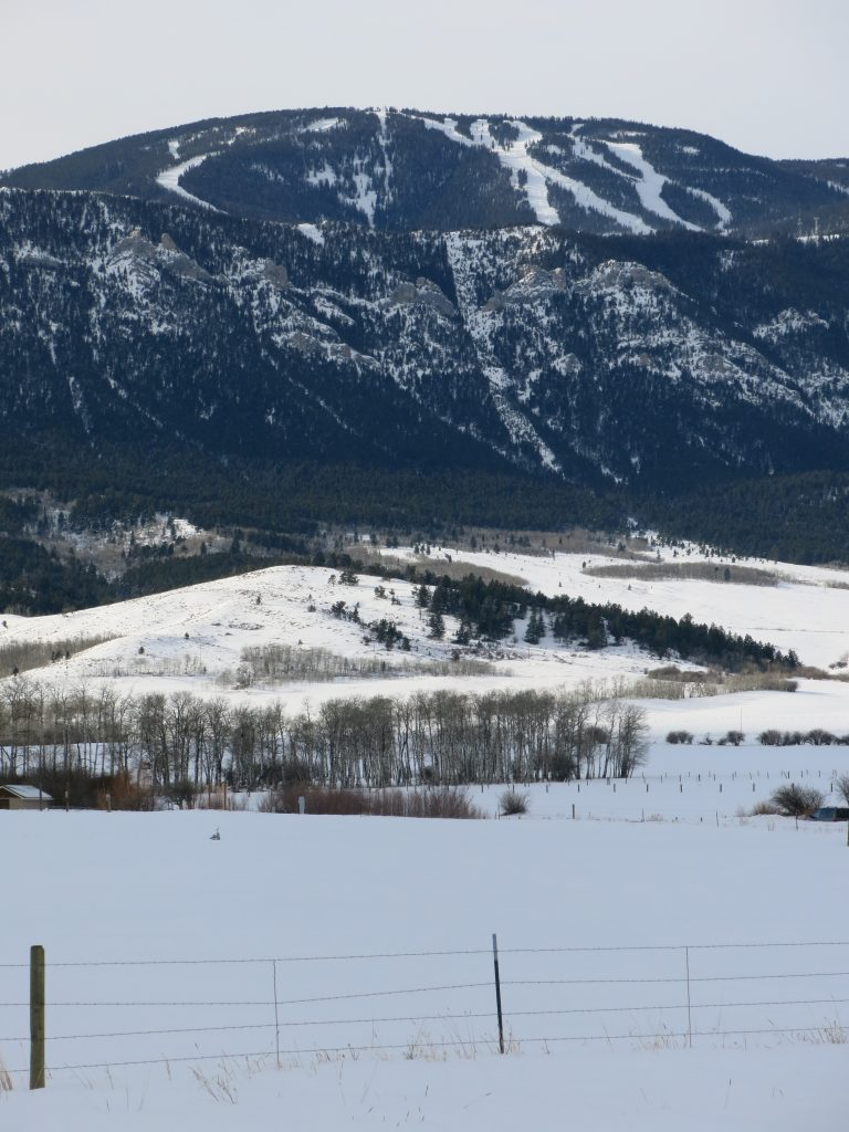View of Red Lodge from the valley, December 2016