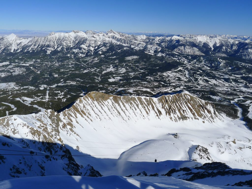 View north from Lone Peak at Big Sky, January 2014