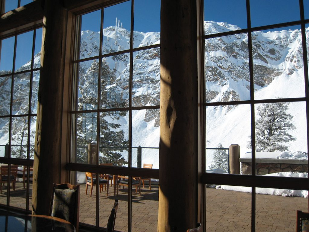 Looking out the windows from the John Paul lodge at Snowbasin, February 2008