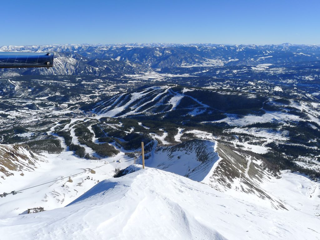 View down to the Village at Big Sky from Lone Peak, January 2014