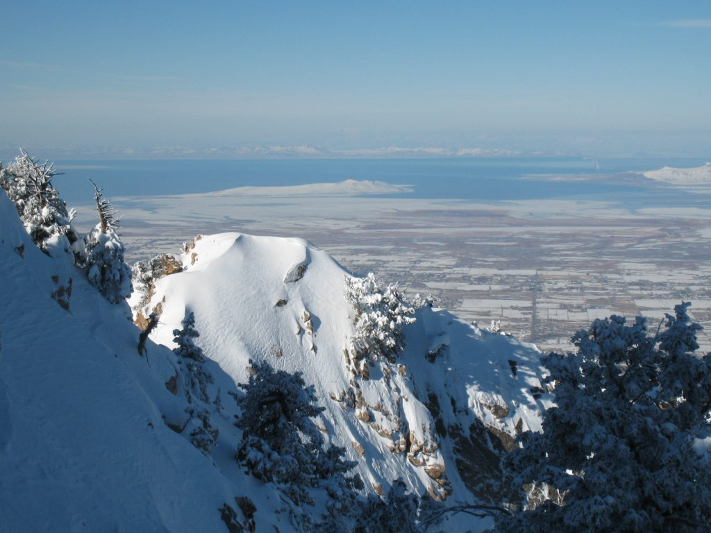 View of the Great Salt Lake from the top of Snowbasin, February 2008
