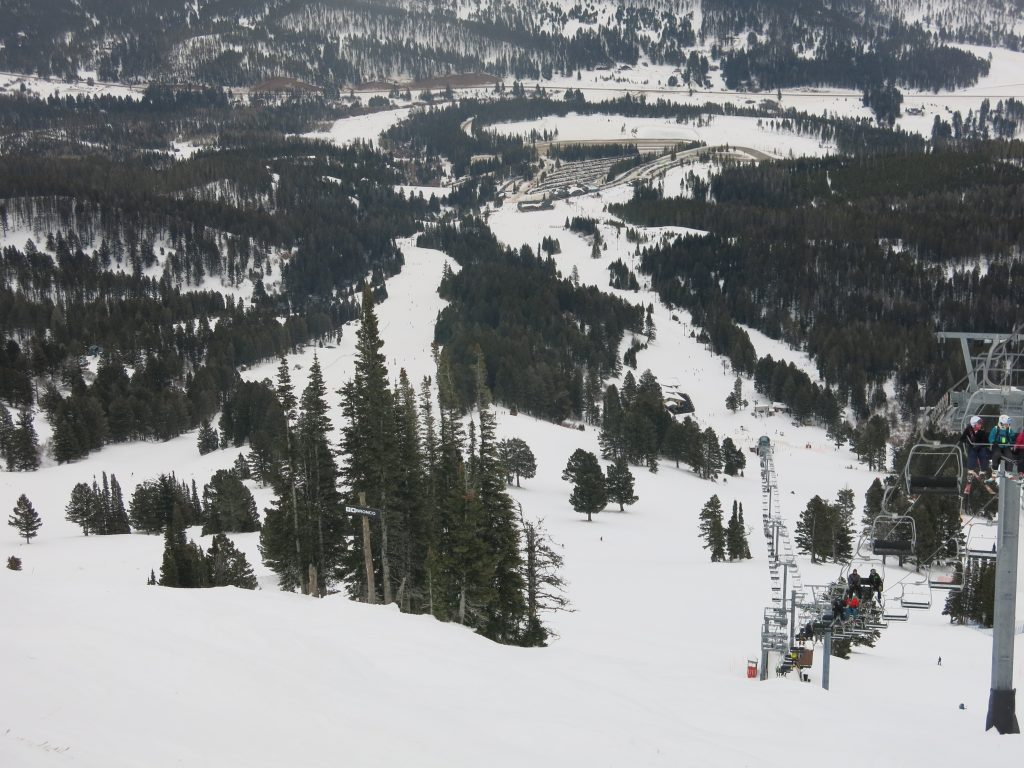 View down the Bridger lift line at Bridger Bowl, December 2016