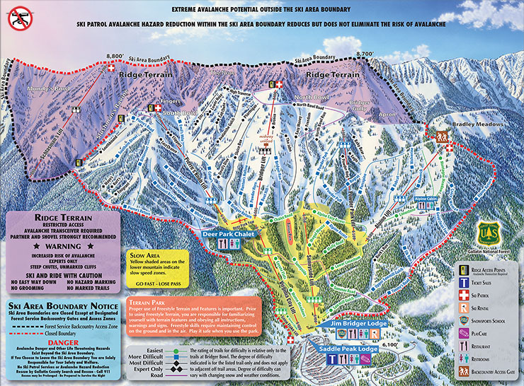 Bridger Bowl trail map 2016/17