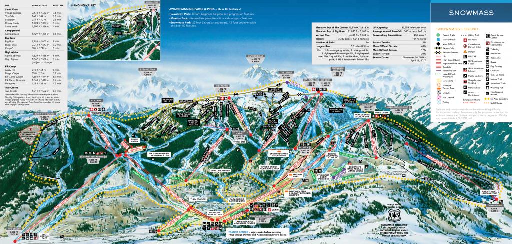 Snowmass Trail map 2016/17