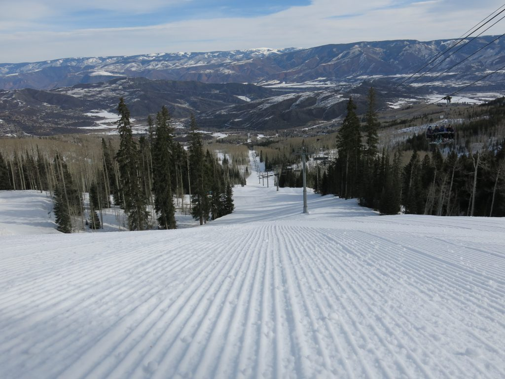 Two Creeks groomer at Snowmass, March 2016