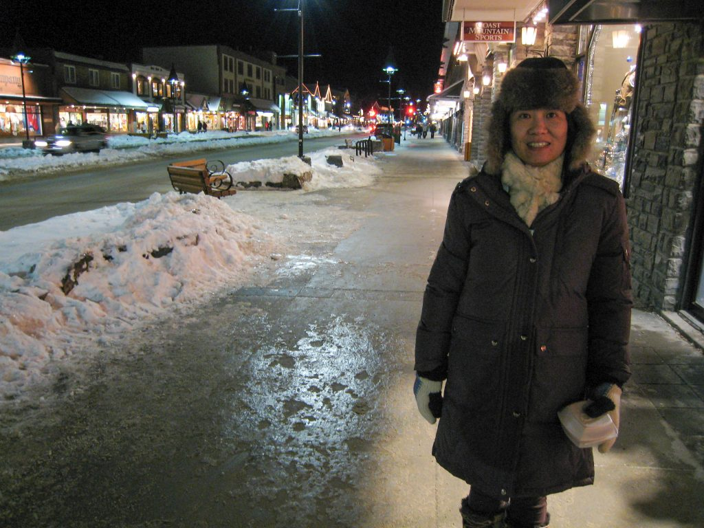 Downtown Banff at night, December 2007