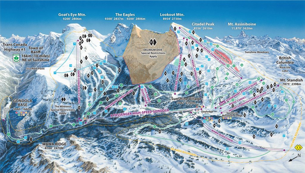 Sunshine Village Trail Map 2016/17