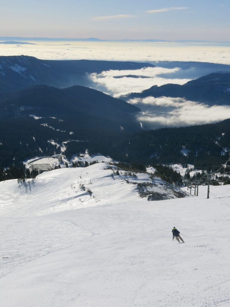 Upper mountain view down to parking lot at Mt. Hood Meadows, February 2017
