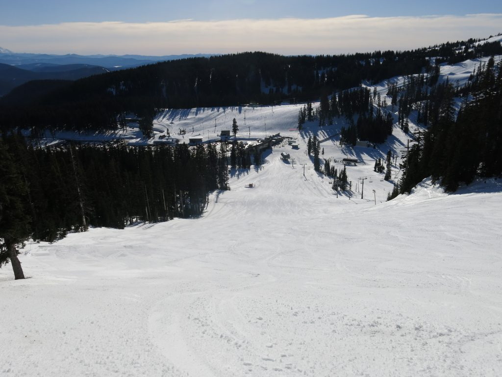 Stadium chair and view of base area at Mt. Hood Meadows, February 2017