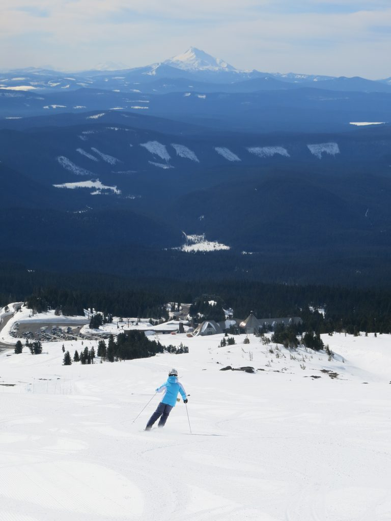 Miracle Mile terrain with a view of Timberline Lodge, February 2017