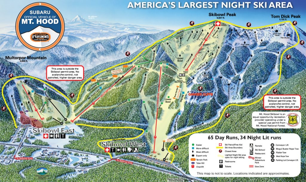 Mt. Hood Skibowl trail map 16/17