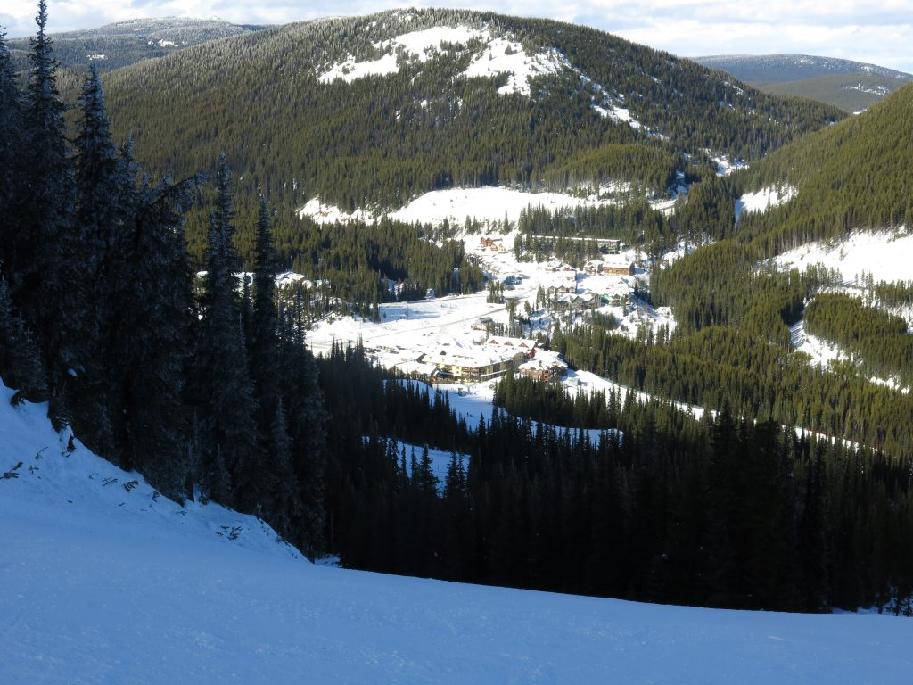 View of the village at Apex Mountain, February 2017