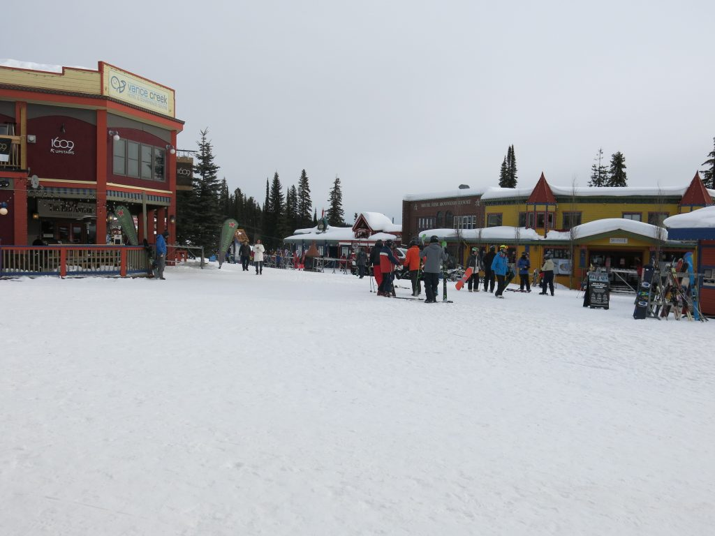 Colorful mid-mountain village at Silver Star, February 2017