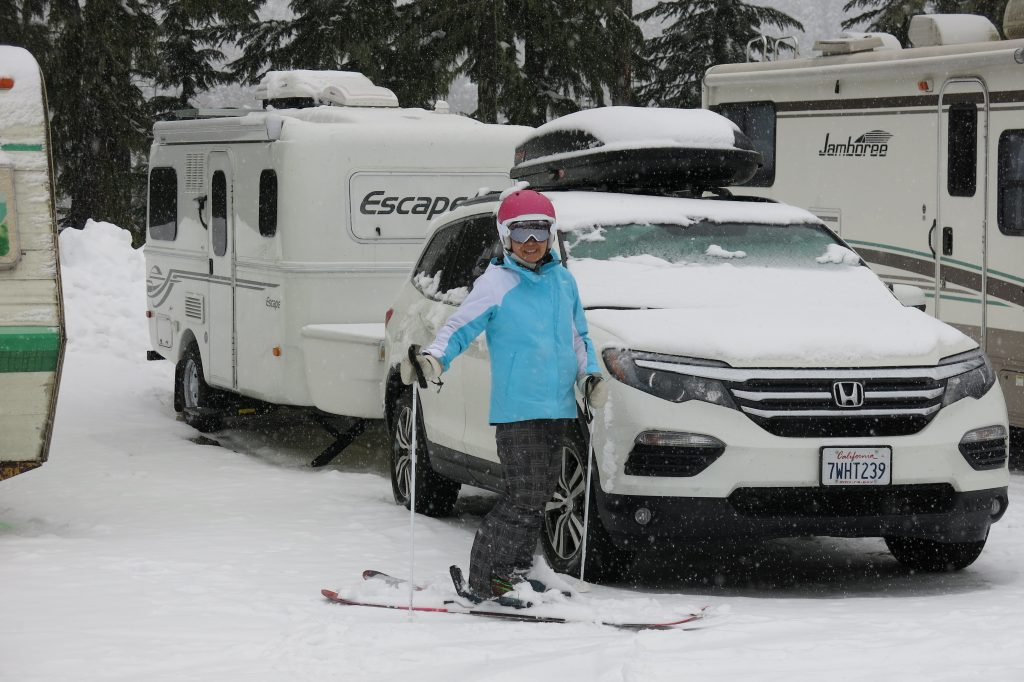 Skiing back to the RV lot at White Pass, December 2017