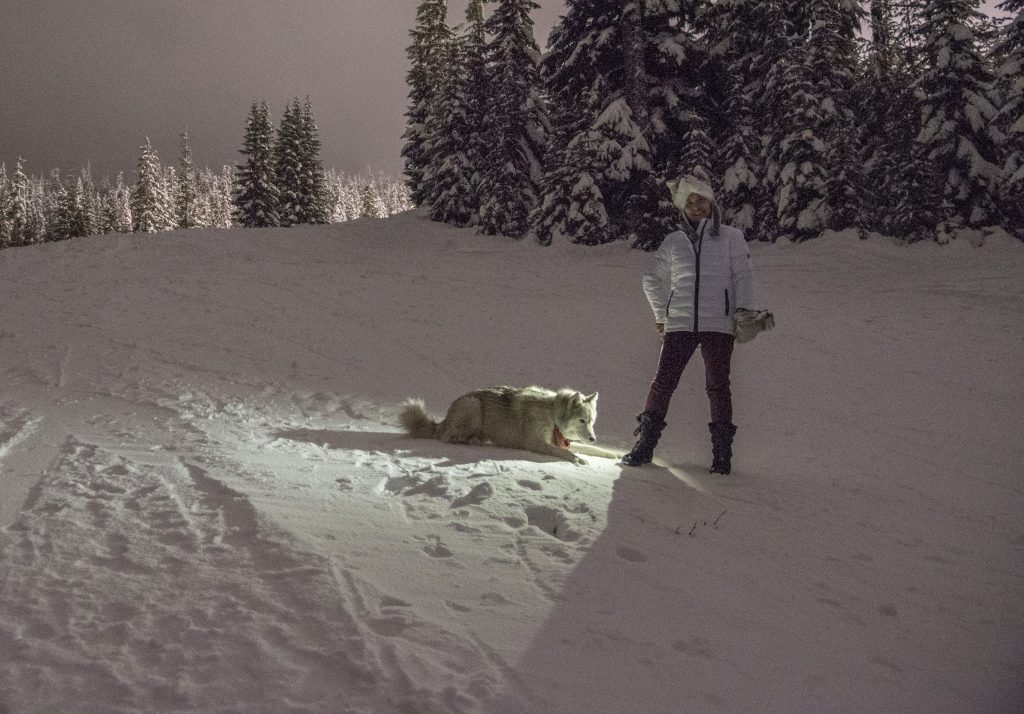 Sammy and AiRung on the night skiing slopes at White Pass, December 2017