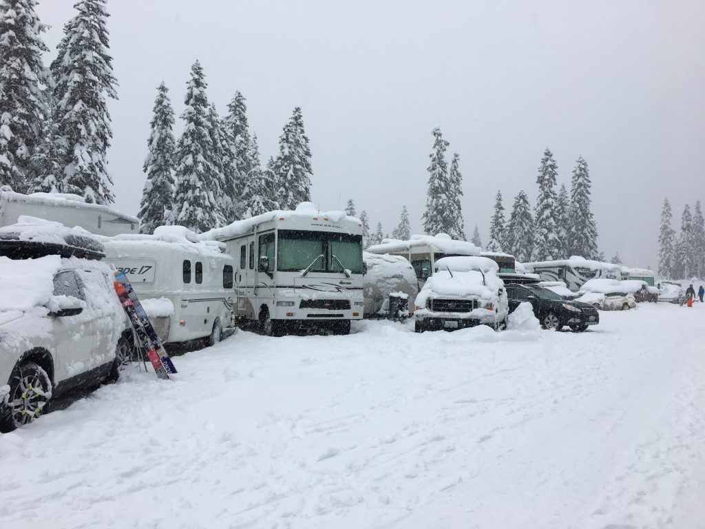 Our rig in the Stevens Pass RV parking lot