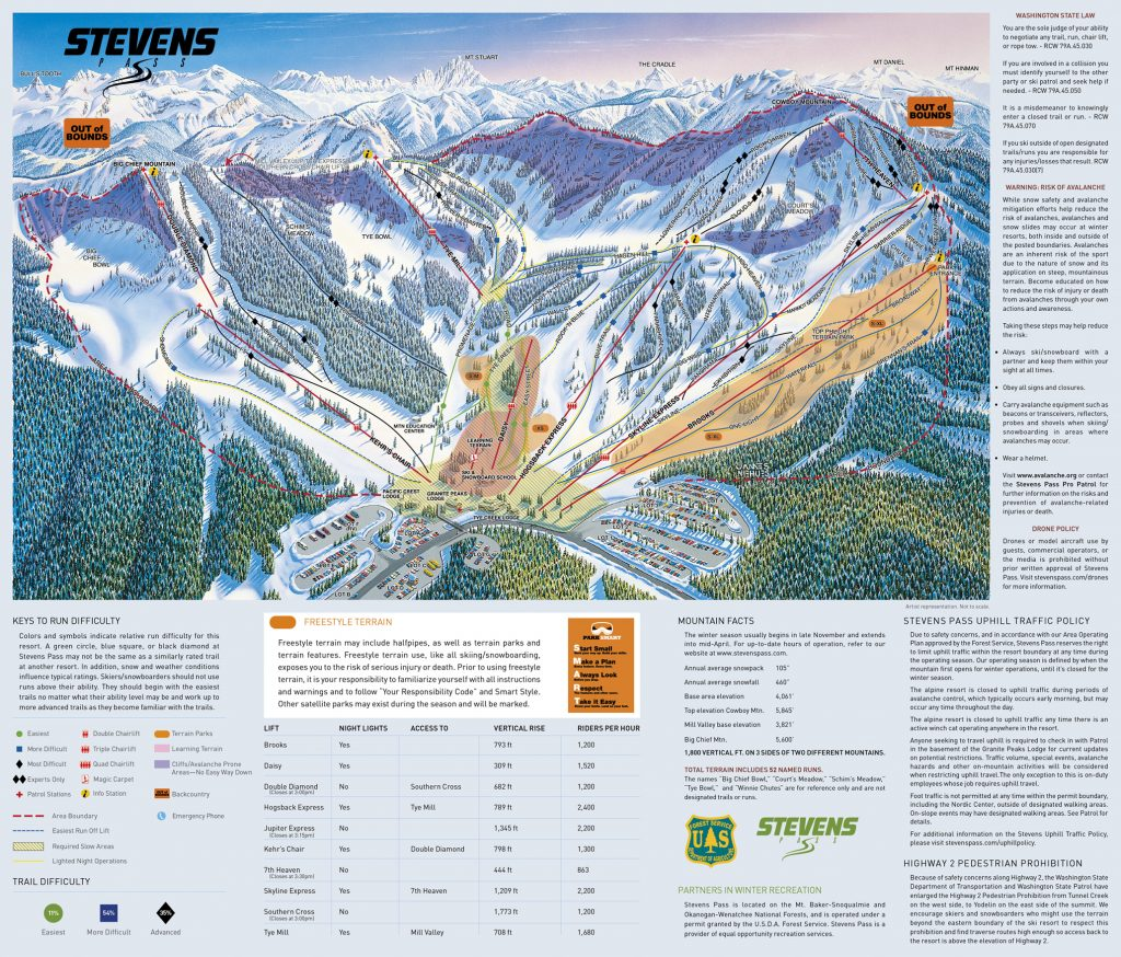 Stevens Pass Frontside trail map 17/18