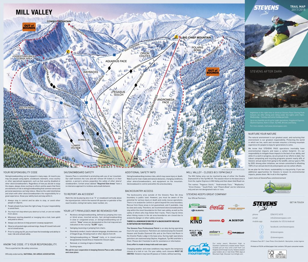 Stevens Pass Mill Valley trail map 17/18