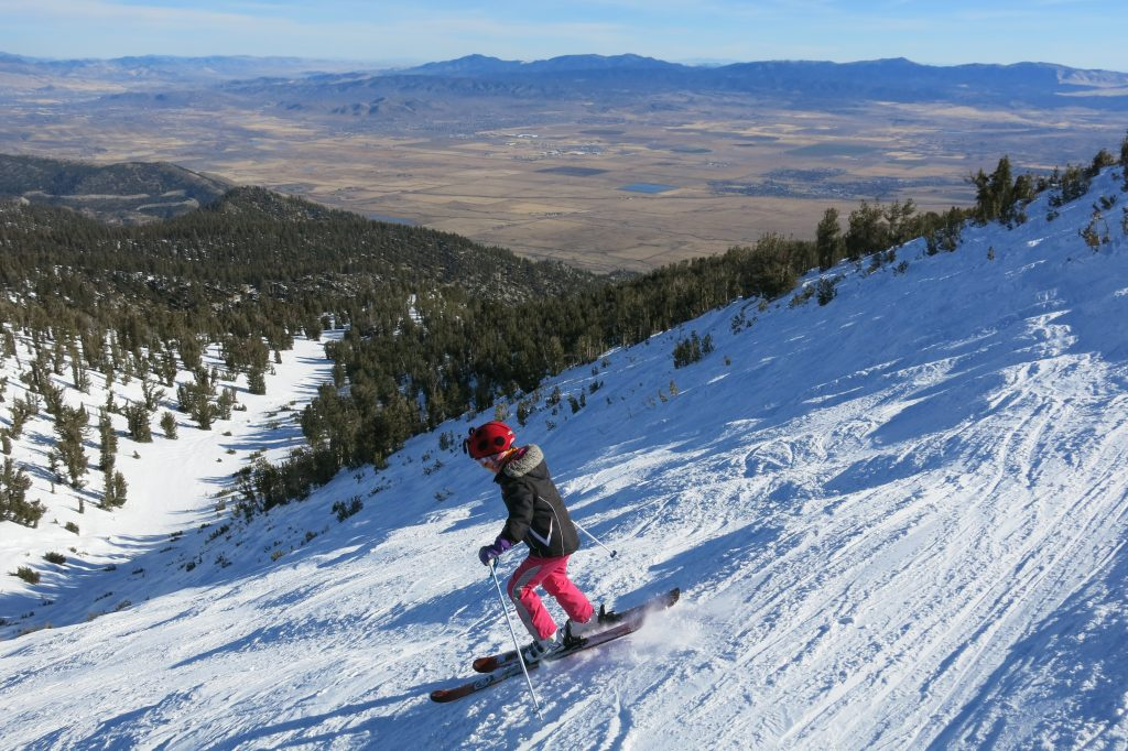11-year old Vicky tearing it up on Milky Way Bowl at Heavenly, January 2018