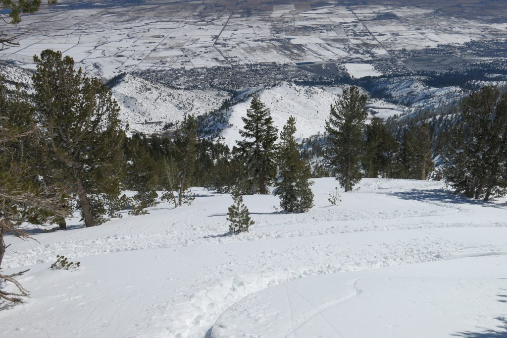 10 minutes after Killebrew Canyon opened for the year at Heavenly, March 2018