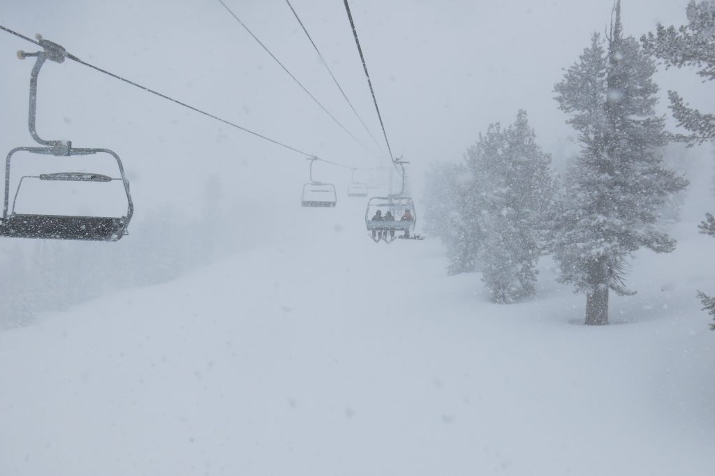 The start of the biggest storm of the season at Heavenly, March 2018