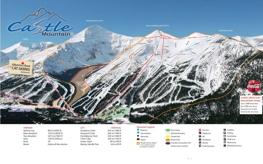 Castle Mountain trail map 2017/18