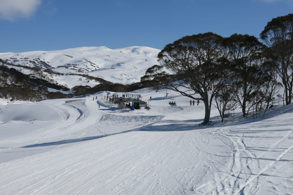 Base of the Freedom Quad at Perisher with a view of Mt. Kosciuszko, August 2018