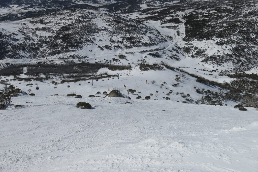 Steeper terrain at Perisher off the Ridge Quad, August 2018