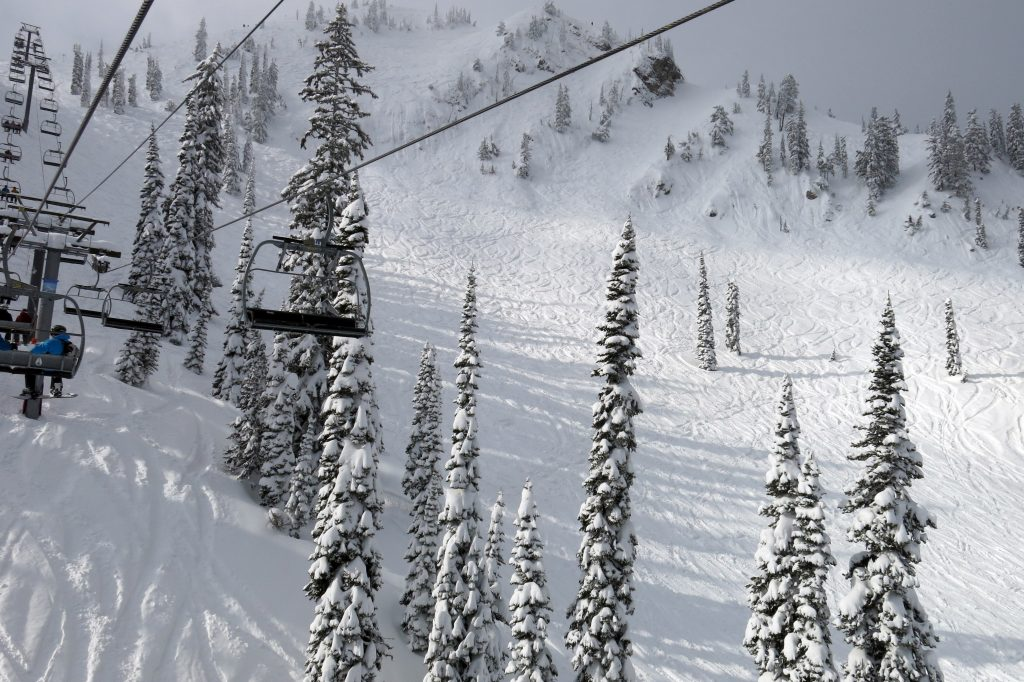 Knot Chutes from the White Pass Quad at Fernie, February 2018