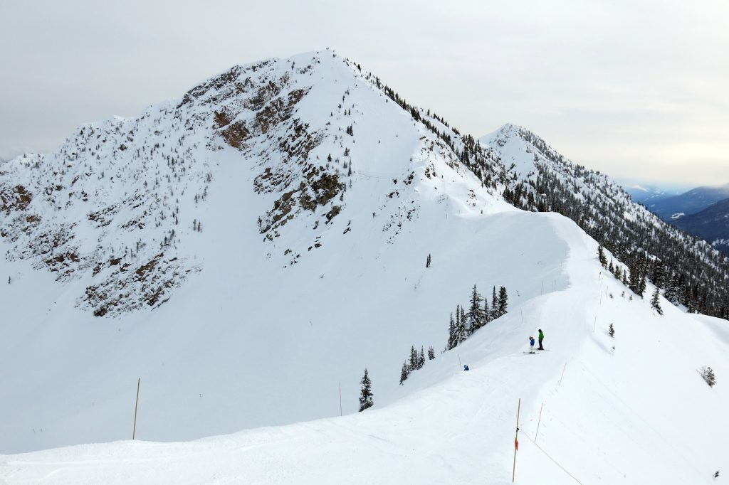 "View of ""Bowl Over"" and Terminator Peak from the top of the Gondola at Kicking Horse, February 2018"
