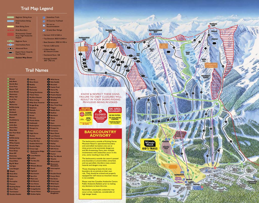 Kicking Horse trail map
