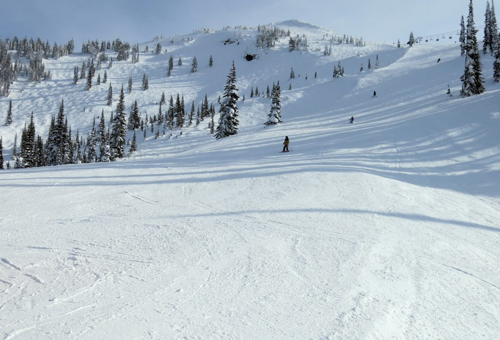 Terrain off skier's right of the Stoke Chair at Revelstoke, February 2018