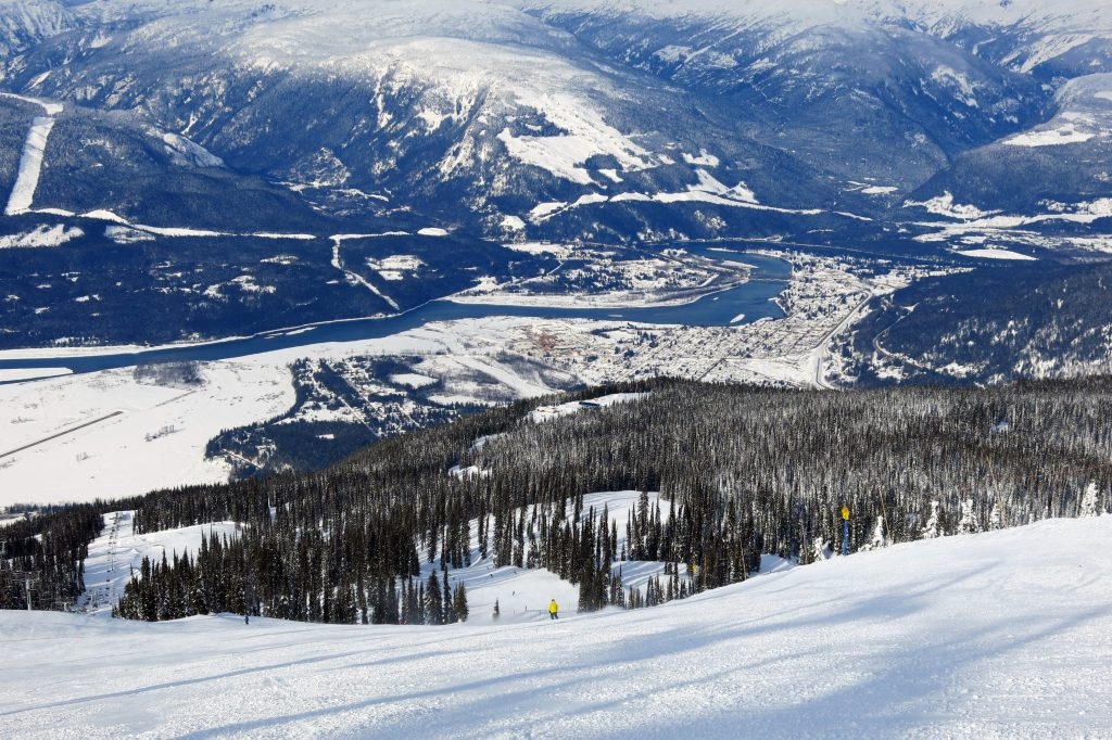 View of the town of Revelstoke from Critical Path, February 2018